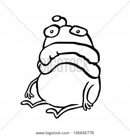 A sad alien sits alone. Bad mood. Loneliness and sadness. Cute cartoon character. Vector illustration.