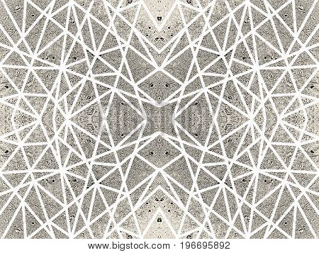 Ornamental sepia background with kaleidoscope effect. Abstract pattern of white crossed lines. Symmetric spiderweb effect. For tech design of leaflets, covers, wallpapers, websites, textile, giftwrap