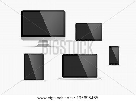 Electronic devices with dark screens. Vector illustration. Set of monitor tablet pcsmart phone and laptop.