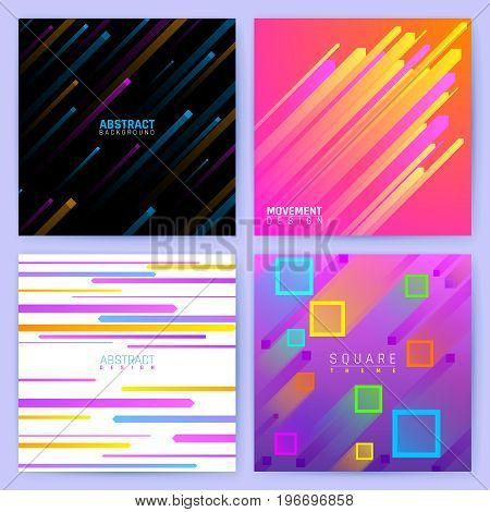 Abstract trendy motion vector backgrounds with colorful geometric shapes. Dynamic patterns set in material design style. Modern business poster with colored motion dynamic illustration