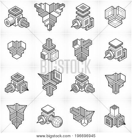 Set of abstract three-dimensional industrial shapes designs.