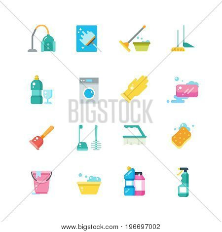 Cleaning home services and household tools isolated vector flat icons. Chemical detergent for housekeeping and disinfectant illustration