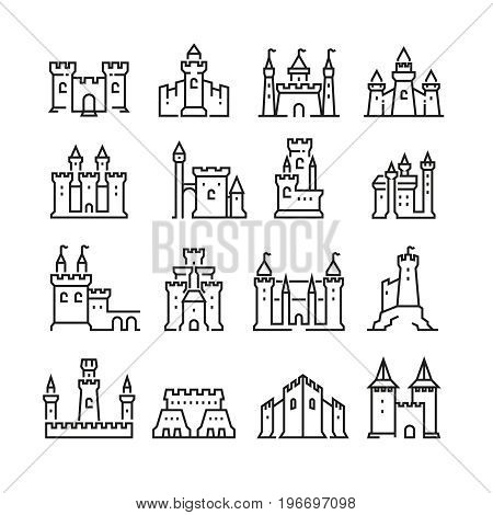Medieval castle and ancient tower fortress line vector icons. Building fortress with tower, medieval historical architecture illustration