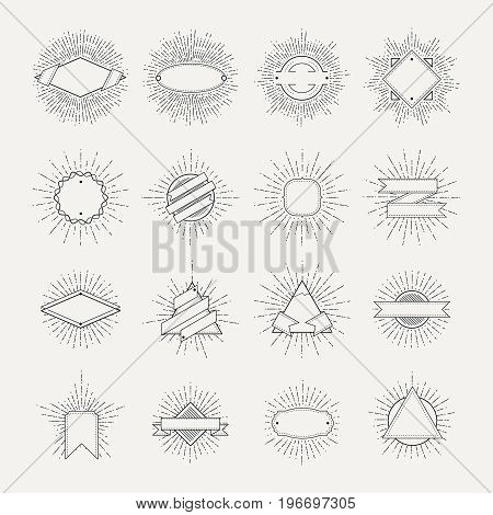 Stamp and badges collection. Different shapes and sunburst frames. Vintage monochrome banners and vector ribbons. Frame badge with sunburst and ribbon illustration