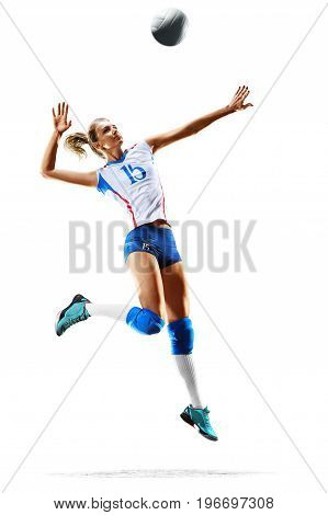 Female professional volleyball player isolated on white background