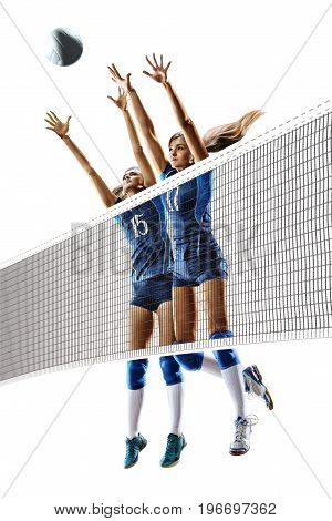 Female professional volleyball players isolated on white background