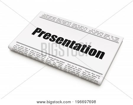 Marketing concept: newspaper headline Presentation on White background, 3D rendering