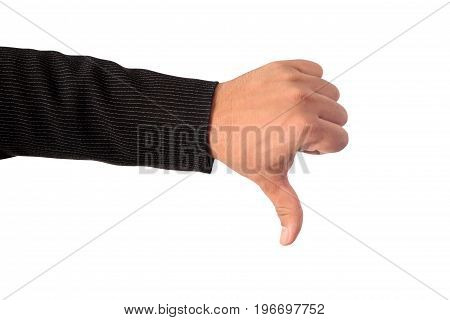 Close up of businessman's left hand making sign dislike isolated on white background clipping path.