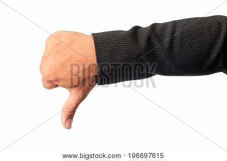 Close up of businessman's right hand making sign dislike isolated on white background clipping path.