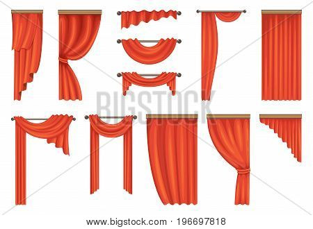 Vector set of theatre red curtains. Illustration of red curtain, theater velvet, textile decoration interior
