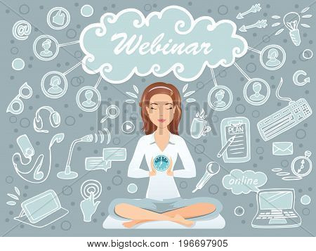 Cute woman preparing for a webinar / public speaker, coach, online education, e-learning. Flat design, vector illustration