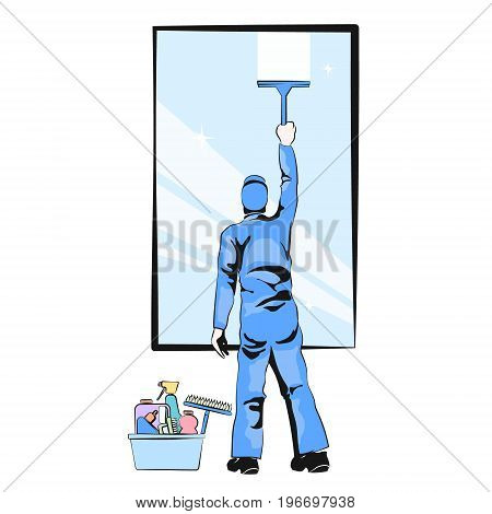Worker washing window vector illustration silhouette person