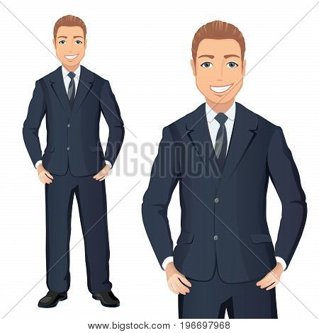 Business man in suit standing, hands on hips, smiling. Full length portraits of elegant, handsome man in suit isolated on white background. Flat design. Vector cartoon illustration