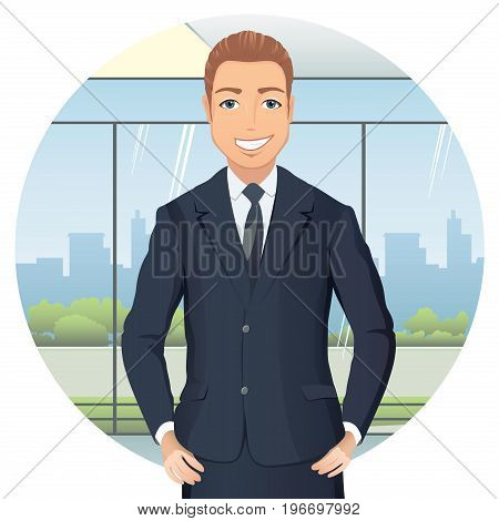 Business man in suit  standing in office, hands on hips, smiling. Handsome man in suit isolated on white background. Flat design. Vector cartoon illustration