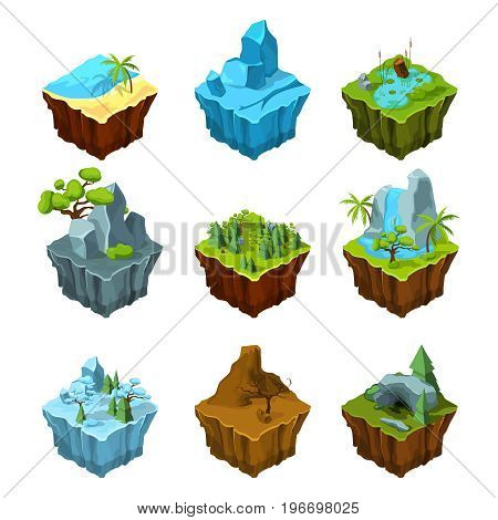 Rock fantasy islands for computer games. Isometric illustrations in cartoon style. 3d panel for game interface rock and sea
