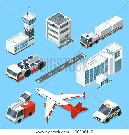 Airline terminal, aero tower, airplane and different support machines of airport. Airplane and machine for support, tower control airport illustration