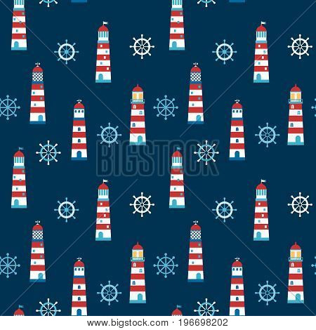 Vector seamless pattern with cartoon lighthouses and helms on dark blue background for children invitations clothing and paper products