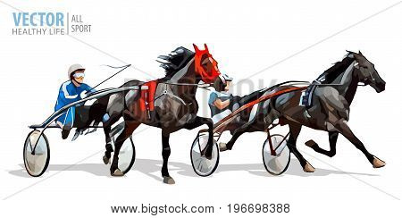 Jockey and horse. Two racing horses competing with each other. Race in harness with a sulky or racing bike. Vector. Illustration.