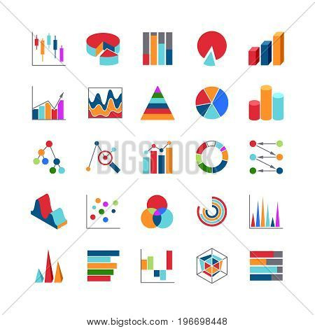 Market trends business data charts icons. Stats money graphs and bar simple vector symbols. Business diagram and chart symbol illustration