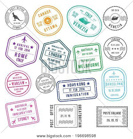 Postal and visa different stamps with airport and city names, also with traveling pictures. Vector illustrations set of stamp visa for travel international