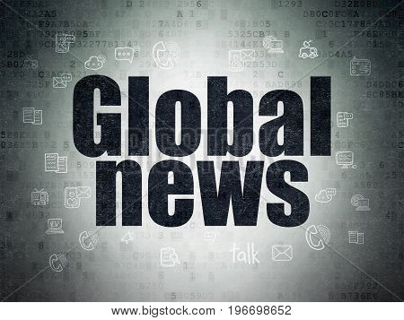 News concept: Painted black text Global News on Digital Data Paper background with  Hand Drawn News Icons