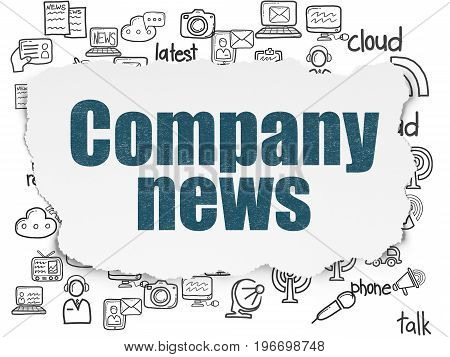News concept: Painted blue text Company News on Torn Paper background with  Hand Drawn News Icons