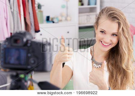 Happy Vlogger Enjoys Work