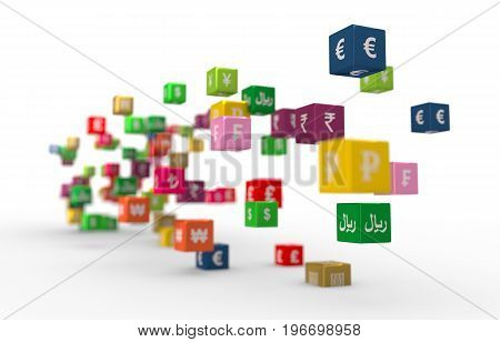Currency symbols on vibrant multicolored plastic reflective cubes. Business concept. 3D rendering