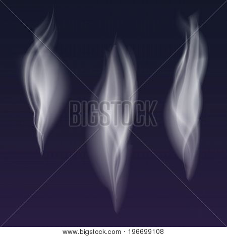 Set of delicate white cigarette smoke waves on transparent background, digital realistic smoke, vector 3D illustration. Wisps of smoke several options