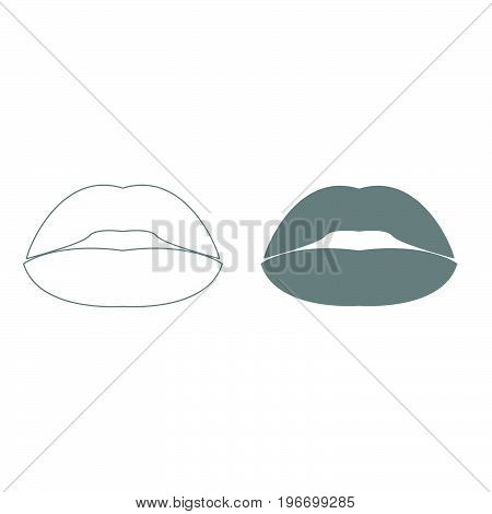 Lipstick Or Lips Grey Color Set Icon .