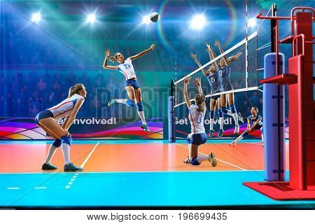 Female professional volleyball players on grand court in hilights