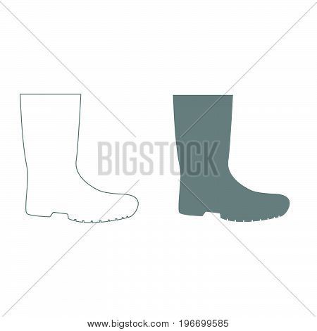 Rubber Boots Grey Color Set Icon .