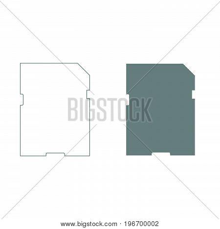 Memory Card Grey Color Set Icon .