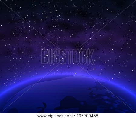 The surface of the Earth from outer space, vector art illustration.