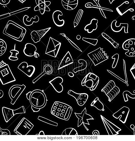 Welcome back to school. Freehand drawing school items. Seamless pattern. Vector illustration.