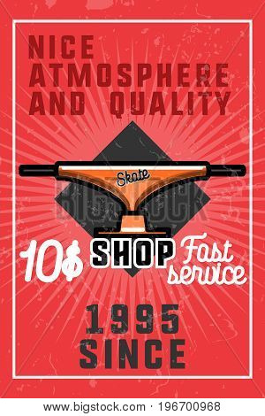 Color vintage skate shop banner. Skate themed design elements for your project. Stock vector.