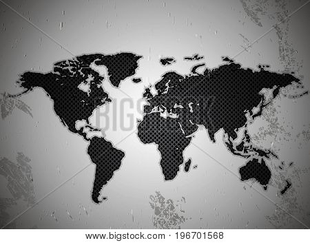 Map of the world in the texture of the metal lattice, vector art illustration.