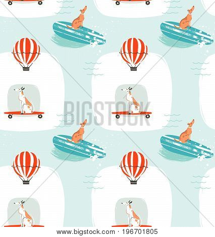 Hand drawn vector cartoon drawing summer time fun seamless pattern illustration with riding dogs on skateboards and dogs on surfboard isolated on blue background