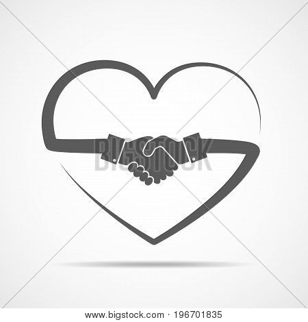 Abstract handshake icon. Handshake sign inside in the heart on light background. Vector illustration.