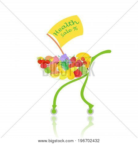 Supermarkets Trolley with Fruits and Banner Announcing Sale of Good Health. Concept of Healthy Eating. Vector EPS 10