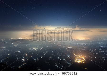 Indonesia, Bali island captured from the top of Agung volcano (3,142 m) in the night.