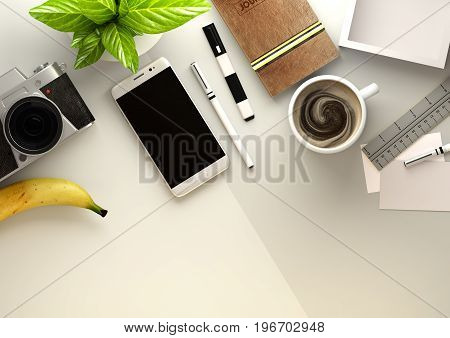 Top down view of a business desktop with a smartphone office accessoriesa journal coffee and snacks. 3D illustration render.