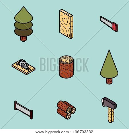 lumberjack flat outline isometric set. Vector illustration, EPS 10