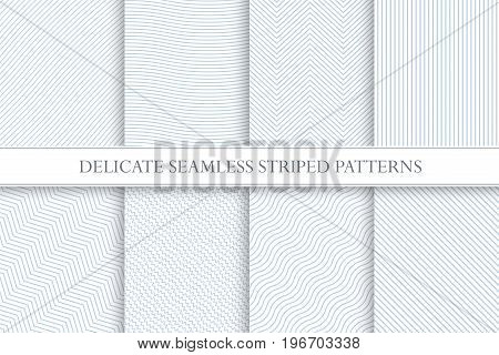 Delicate seamless striped patterns. Decorative fabric geometric textures. You can find seamless backgrounds is swatches panel.