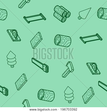lumberjack flat outline isometric pattern. Vector illustration, EPS 10