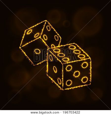 Dice icon. Two game dices, casino symbol lights silhouette design on dark background. Vector illustration. Glowing Lines and Points. Gold color.