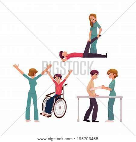 Medical rehabilitation, physical therapy activities, physiotherapist working with patients, cartoon vector illustration on white background. Medical rehabilitation, physical therapy, nurse, patients