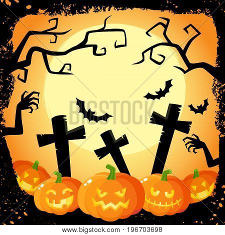 Halloween banner, poster, postcard design with three spooky pumpkin lanterns on cemetery background, cartoon vector illustration. Cartoon Halloween banner, poster with pumpkins and cemetery