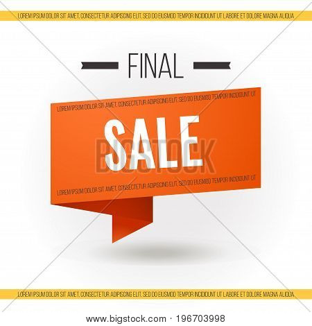 Final sale banner Vector illustration Trendy orange banner with the inscription Final sale in paper art on white background Design template for the online store shops poster