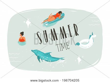 Hand drawn vector abstract summer time fun cartoon illustration with swimming people, surfer on longboard, unicorn float ring, dolphin and modern typography quote Summer time isolated on blue background
